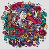 Ilustração desenhado à mão do Musical das garatujas dos desenhos animados Fotos de Stock