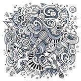 Ilustração desenhado à mão do Musical das garatujas dos desenhos animados Fotos de Stock Royalty Free
