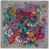 Ilustração desenhado à mão do Musical das garatujas dos desenhos animados Fotografia de Stock Royalty Free