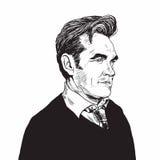 Ilustração desenhado à mão do vetor de Morrissey Portrait Caricature ilustração royalty free