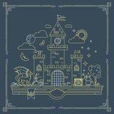 Ilustração detalhada alta do vetor do reino mágico Linha fina moderna projeto Feiticeiro, dragão e castelo nas páginas do livro Foto de Stock Royalty Free