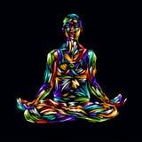 Ilustração detalhada da ioga da silhueta Conceito da aptidão gymnastics aerobics Pose da arte ha colorido do projeto dos lótus ilustração stock
