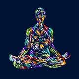 Ilustração detalhada da ioga da silhueta Conceito da aptidão gymnastics aerobics Pose da arte ha colorido do projeto dos lótus ilustração royalty free
