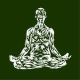 Ilustração detalhada da ioga da silhueta Conceito da aptidão gymnastics aerobics Pose da arte ha colorido do projeto dos lótus ilustração do vetor