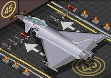 Eurofighter isométrico aterrado na vista traseira ilustração stock