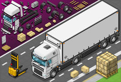Caminhão isométrico de Frigo na vista dianteira Foto de Stock