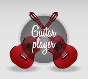 Ilustração detalhada do vetor da guitarra dois vermelha clássica Foto de Stock Royalty Free