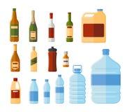 Ilustração diferente do vetor das garrafas e dos recipientes da água ilustração stock