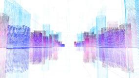 Ilustração digital abstrata do holograma 3D da cidade com matriz futurista ilustração stock