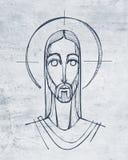 Ilustração digital de Jesus Christ Face fotografia de stock royalty free