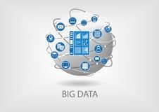 Ilustração digital do painel da analítica dos dados grandes ilustração stock