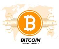 Ilustração digital do vetor da moeda do bitcoin dourado Imagens de Stock
