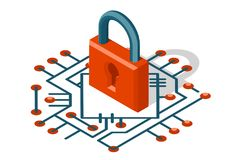 Ilustração digital isométrica do vetor do ícone da proteção 3d do cyber do Internet da tecnologia de segurança da Web ilustração stock