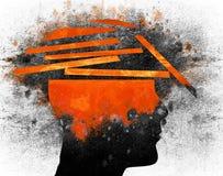 Ilustração digital quebrada da cabeça humana imagem de stock royalty free