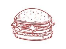 Ilustração digital tirada mão do Hamburger fotos de stock