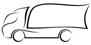 Ilustração dinâmica do vetor de um caminhão europeu com dois eixos como um logotipo para uma entrega compan ilustração do vetor