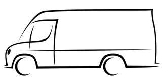 Ilustração dinâmica do vetor de uma camionete de entrega com um corpo típico para empresas postais americanas ilustração do vetor