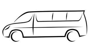 Ilustração dinâmica do vetor de uma carrinha para passageiros ilustração stock