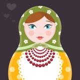 Ilustração do ícone da boneca do assentamento do russo de Matryoshka única - cartão liso do vetor do estilo no fundo escuro Imagem de Stock Royalty Free