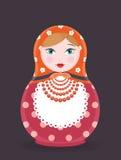 Ilustração do ícone da boneca do assentamento do russo de Matryoshka única - cartão liso do vetor do estilo no fundo escuro Foto de Stock Royalty Free
