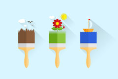 Ilustração do ícone da escova da construção Imagem de Stock