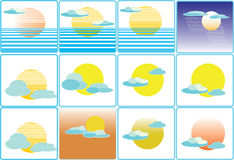 Ilustração do ícone do clima do tempo da nuvem e do sol Imagem de Stock Royalty Free
