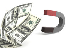 Ilustração do ímã 3d do dinheiro Ilustração Stock
