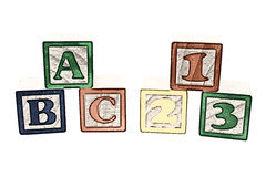 Ilustração do ABC e dos 123 blocos Imagens de Stock Royalty Free