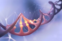 Ilustração do ADN 3d Sequência do genoma da descodificação Estudos científicos da estrutura da molécula do ADN Decomposição da hé fotos de stock royalty free