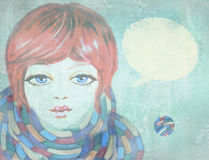 Ilustração do adolescente da beleza com bolha do discurso Fotos de Stock Royalty Free