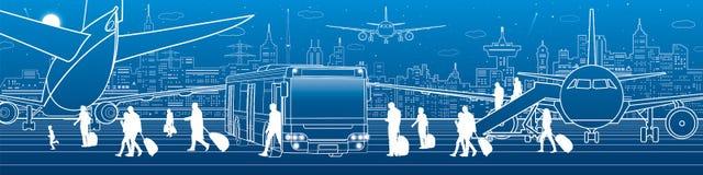 Ilustração do aeroporto Infraestrutura do transporte da aviação O plano está na pista de decolagem Os passageiros embarcam um avi ilustração royalty free