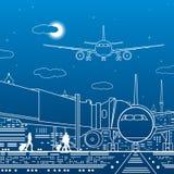 Ilustração do aeroporto Os passageiros vão ao avião Infraestrutura do transporte do curso da aviação O plano está na pista de dec ilustração stock