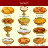 Ilustração do alimento tradicional delicioso da Índia de Assam ilustração royalty free