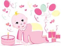 Ilustração do aniversário do bebê Foto de Stock Royalty Free