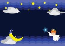 Ilustração do anjo na noite com Stars&Moon fotografia de stock