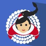 A ilustração do ano novo do Natal da menina de Santa de uma saia no formulário aumenta rapidamente a opinião superior da neve Imagem de Stock