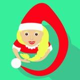 Ilustração do ano novo do Natal da menina de Santa de uma vista superior com ícone simples da imagem do tampão longo de Kalpaka Imagens de Stock