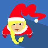Ilustração do ano novo do Natal da menina de Santa de uma vista superior com ícone simples da imagem do tampão longo de Kalpaka Imagem de Stock