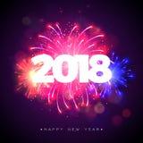 A ilustração 2018 do ano novo feliz com fogo de artifício e 3d Text no fundo azul brilhante Projeto do feriado do vetor para o pr Fotos de Stock Royalty Free