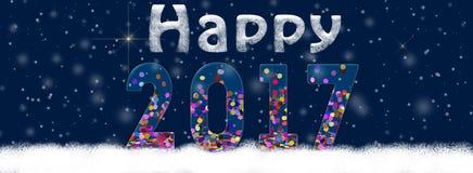 Ilustração 2017 do ano novo feliz no fundo escuro Imagens de Stock Royalty Free