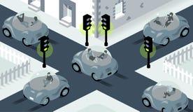Ilustração do auto que conduz os carros que cruzam-se na interseção ocupada, onde as luzes são ajustadas toda para esverdear ilustração royalty free