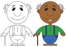 Ilustração do avô africano idoso com um bastão Fotografia de Stock Royalty Free