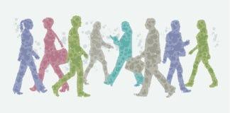 Ilustração do Avatar - silhuetas de passeio dos povos Foto de Stock