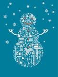 Ilustração do boneco de neve Fotos de Stock