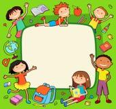 Ilustração do bunner das crianças em torno da bandeira quadrada atrás do vetor do cartaz Fotos de Stock Royalty Free