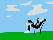 Ilustração do businnessman de assento na cadeira Foto de Stock