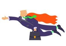 Ilustração do businnessman do voo com revestimento vermelho Fotografia de Stock