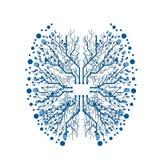 Ilustração do cérebro da microplaqueta de Digitas ilustração stock