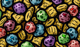 Ilustração do café da manhã doce frutado da caloria alta colorida do granula do cereal da baga para crianças Imagem de Stock