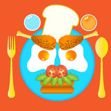 Ilustração do café da manhã extravagante para a criança Imagens de Stock